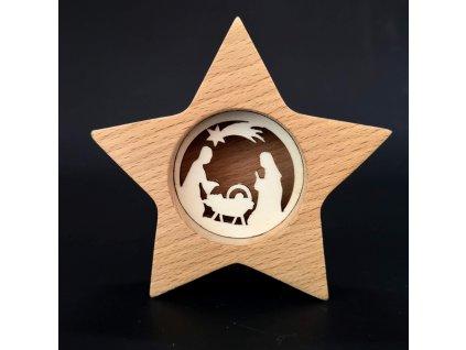 Vánoční dekorace - hvězda s betlemem