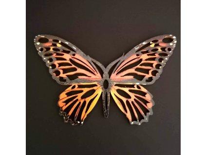 Dřevěná dekorace motýl červený 9 cm