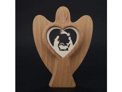 Dřevěný anděl s vkladem - betlém, masivní dřevo, výška 10 cm
