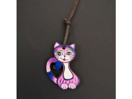 Dřevěný přívěsek na krk kočka růžová, 4,5 cm