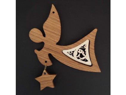 Dřevěná ozdoba z masivu s vkladem - anděl s ornamentem a hvězdou 11 cm