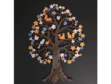 Dřevěný strom s veverkami, barevná dekorace k zavěšení, oboustranný potisk, výška 27 cm