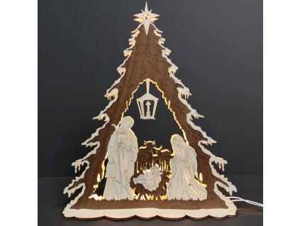 Dřevěný svítící portál ve tvaru stromu s betlémem, dýhový, 44x37x9,5 cm