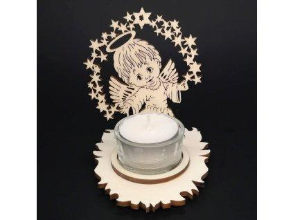 Dřevěný svícen anděl