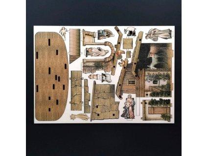 Dřevěný 3D vylamovací betlém 12 cm
