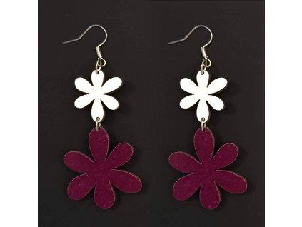 Dřevěné náušnice květiny bílá a fialová, 5 cm