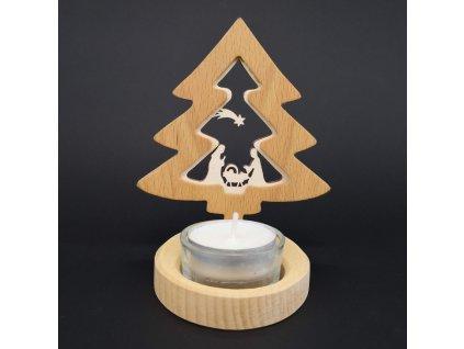 Svícen z masivu s vkladem - zvonek s betlémem 10 cm