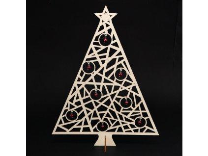 Dřevěný 3D stromek s kuličkami, výška 38 cm