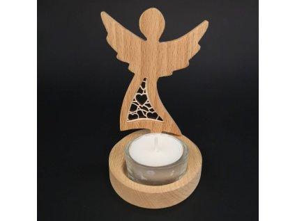 Dřevěný svícen anděl s vkladem - srdce, masivní dřevo, 10x7,5x1,5 cm