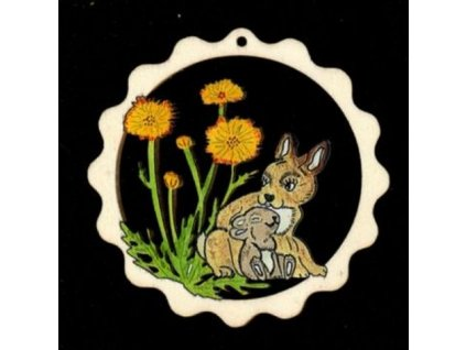 Dřevěná ozdoba barevná vlnka s králíky 9 cm
