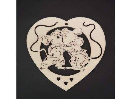 Dřevěná ozdoba srdce s myškami 9 cm