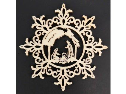Dřevěná ozdoba vločka s betlémem 9 cm