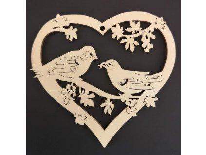 Dřevěná ozdoba srdce s ptáčky 9 cm