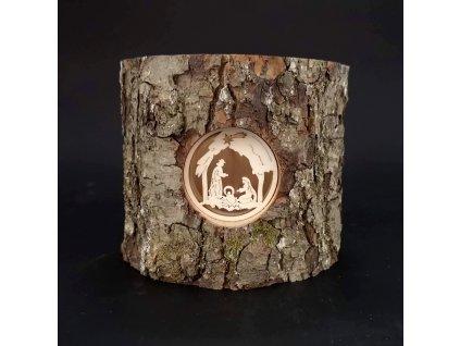 Vánoční dřevěný svícen s kůrou- betlém
