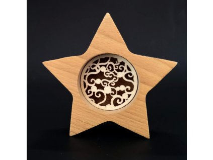 Dřevěná dekorace hvězda s vkladem - ornament, masivní dřevo, výška 10 cm