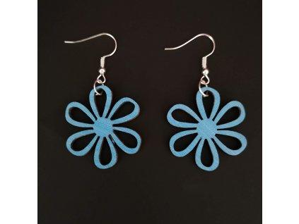 Dřevěné náušnice květina modrá, 3 cm