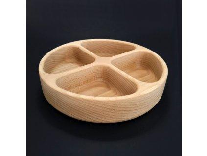 Dřevěná miska kulatá, dělená, masivní dřevo, 20x4,5 cm