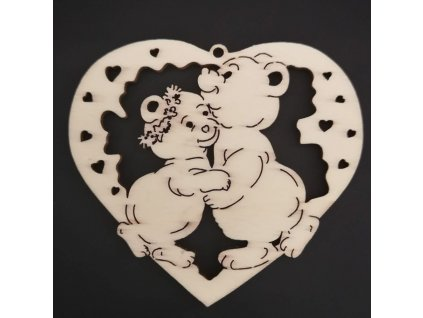 Dřevěná ozdoba srdce s medvídky 7 cm