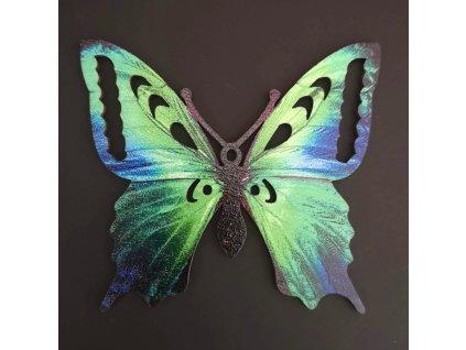 Dřevěná dekorace motýl  zelený 9 cm