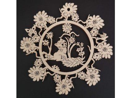 Dřevěná ozdoba květina s kočkou 9 cm