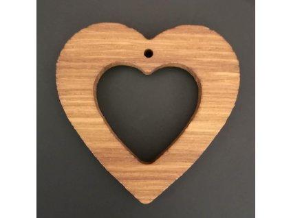 Dřevěná ozdoba z masivu - srdce 6 cm