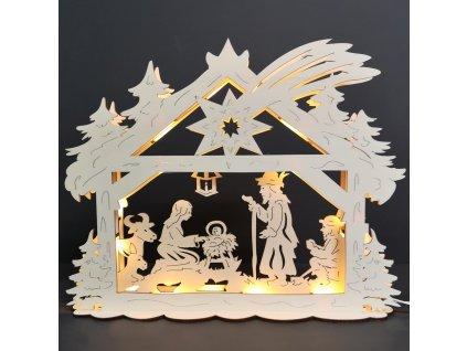 Dřevěný svítící portál s motivem betléma, 43x36x9 cm