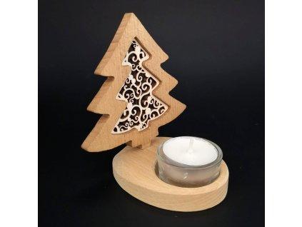 Dřevěný svícen stromek s vkladem - ornament, masivní dřevo, výška 10 cm