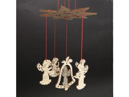 Dřevěná zvonkohra andílci 16 cm