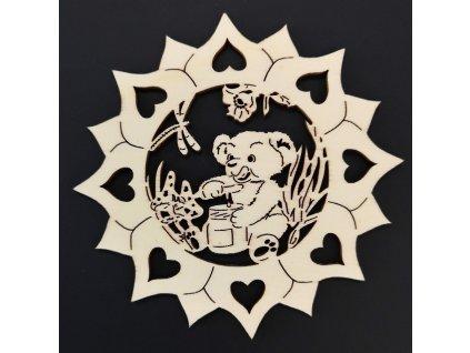 Dřevěná ozdoba slunečnice s medvídkem 10 cm