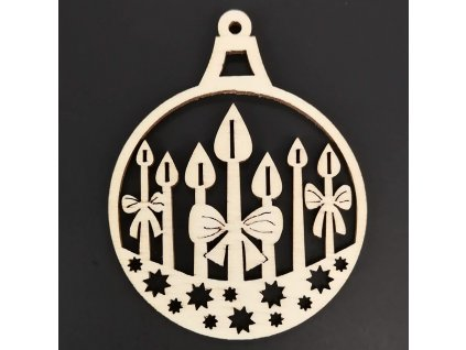 Dřevěná ozdoba koule se svíčkami 6 cm