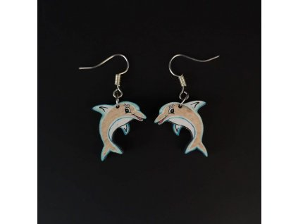 Dřevěné náušnice delfín, 2 cm