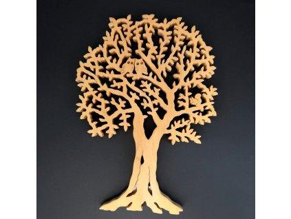 Dřevěný strom s veverkou a sovami, masivní dřevo, 40x28 cm