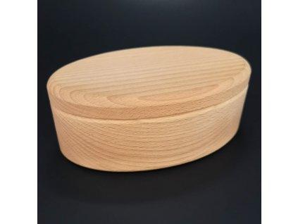 Dřevěná dóza oválná, masivní dřevo, 15x9x4,5 cm