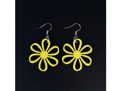 Dřevěné náušnice květina žlutá, 3 cm