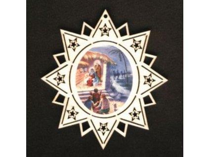 Dřevěná ozdoba barevná hvězda s betlémem 11 cm