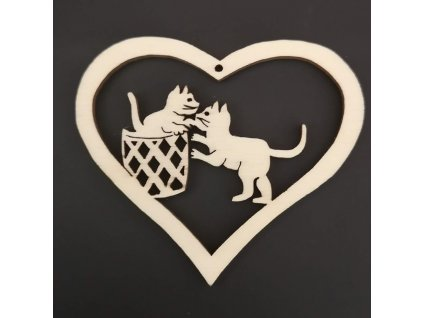 Dřevěná ozdoba srdce s kočkami 6 cm