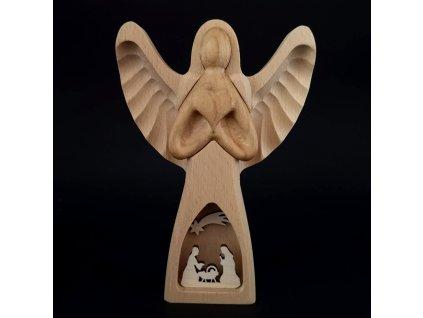 Dřevěný anděl s vkladem - betlém, masivní dřevo, 20x13,5x3 cm