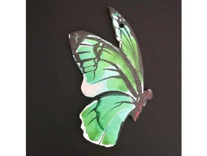 Dřevěná ozdoba motýl zelený 9 cm