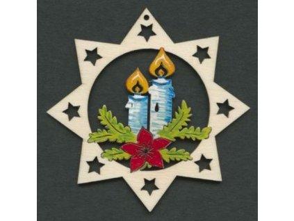 Dřevěná ozdoba barevná hvězda se svíčkami 9 cm