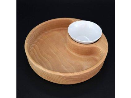 Dřevěná miska nachos kulatá