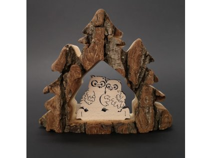 Dřevěná dekorace stromy s kůrou a sovami, masivní dřevo, 10x13x3 cm