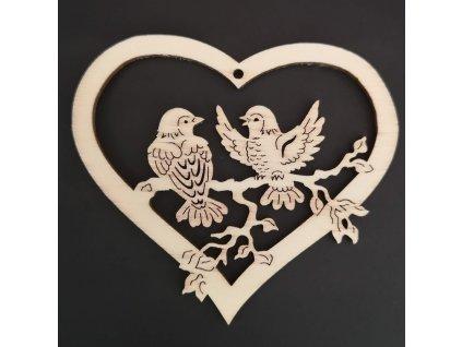 Dřevěná ozdoba srdce s ptáčky 6 cm