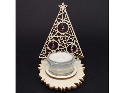 Vánoční dřevěný svícen - stromek