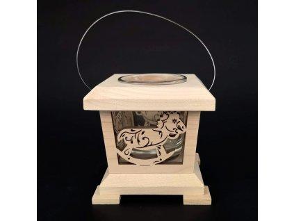Dřevěná lucerna s motivem houpacího koně, masivní dřevo, 9x9x9 cm