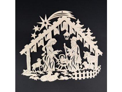 Dřevená ozdoba betlém 20 cm