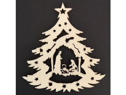 Dřevěná ozdoba stromek s betlémem 9 cm