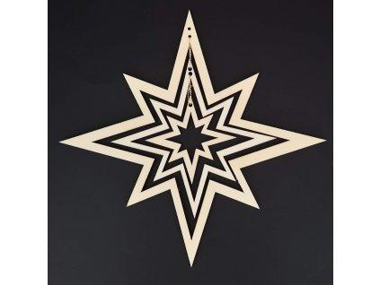 Dřevěná ozdoba 3D hvězda 22 cm
