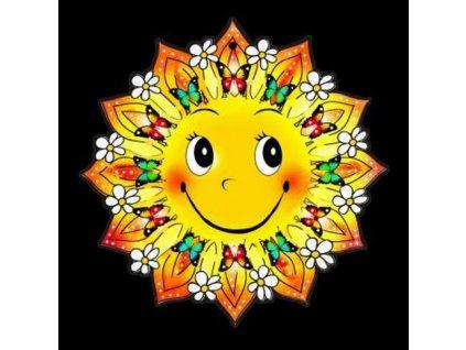 Dřevěná ozdoba barevná slunce s motýlky a květinami 9 cm