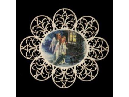 Dřevěná ozdoba barevná vločka s andílky 11 cm