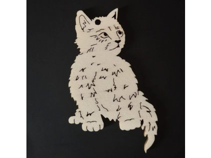 Dřevěná ozdoba kočka 8 cm